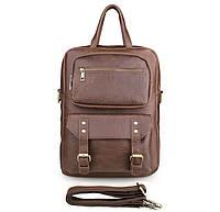 Прочный кожаный коричневый рюкзак