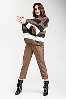 Стильный молодежный кардиган  прямого силуэта в полоску из полушерстяной пряжи с мохером.