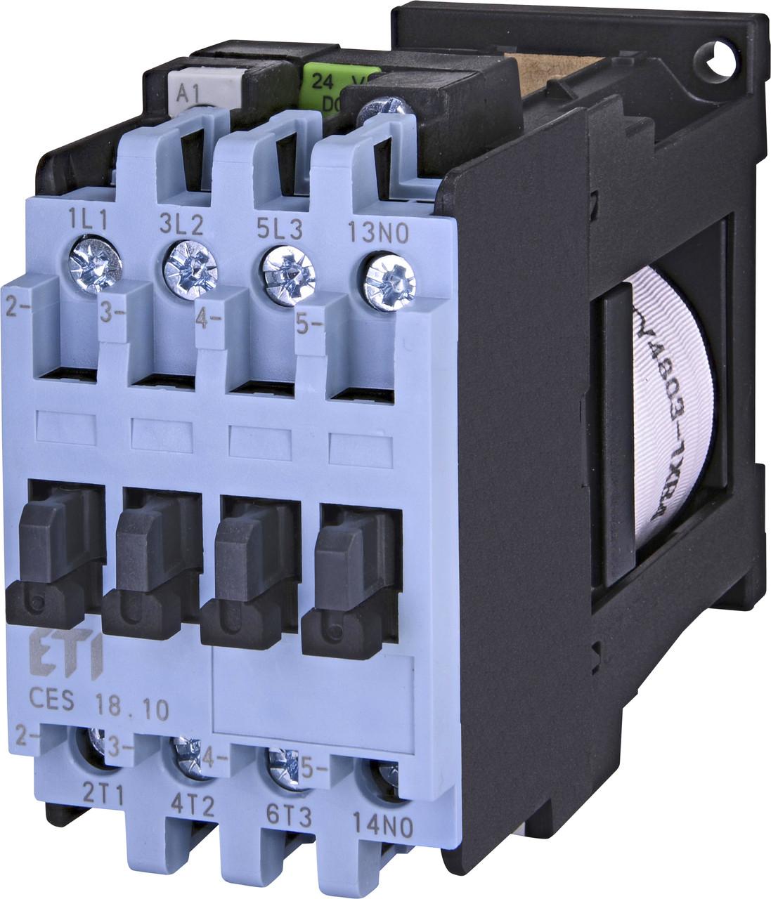 Контактор силовой ETI CES 18.10 18А 24V DC 3NO+1NO 7.5kW 4646535 (на DIN-рейку, 25A AC1, 18A AC3)