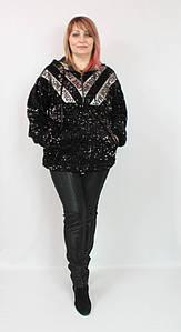 Турецкая женская блестящая короткая куртка в пайетках, размеры 52-56