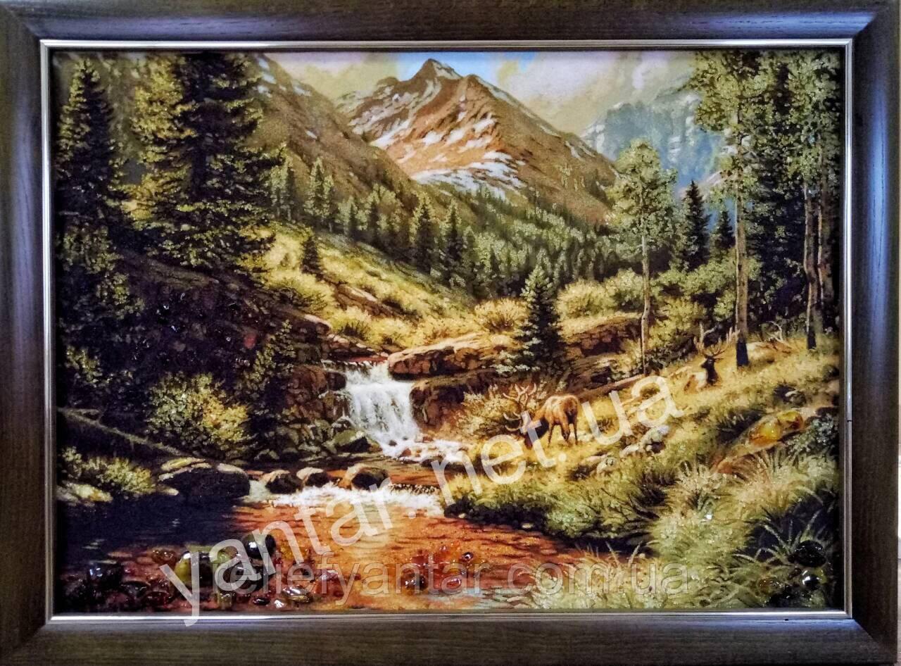 """Картина Пейзаж  из янтаря """" Горный пейзаж """" 60x80 см"""