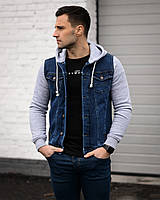 Мужской костюм синяя джинсовка и свитшот