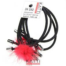 KATTi Резинка для волос 26 292 средняя черная жгут с малым цветным мехом 2шт, фото 3