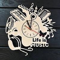 Оригинальные часы ручной работы из дерева «Музыка», фото 1
