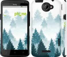 """Чехол на HTC One X Акварельные Елки """"4720c-42-535"""""""