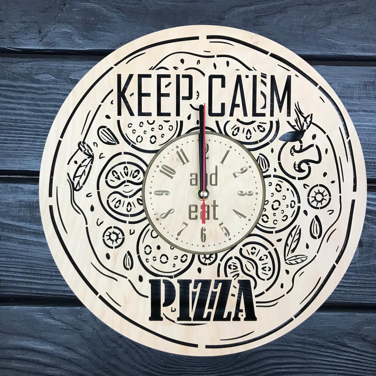 Деревянные настенные часы из дерева «Пицца»