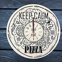 Деревянные настенные часы из дерева «Пицца», фото 1