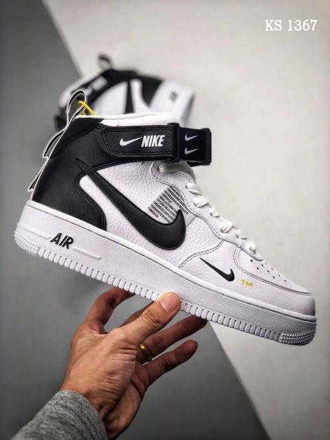 Чоловічі кросівки Nike Air Force 1 07 Mid LV8 (біло-чорні) 1367
