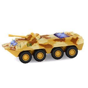 Военная машина 6409B (96шт) жел, инер-я, БТР,1:54,звук,свет,на бат-ке(табл),в кор-ке,17-7,5-7см