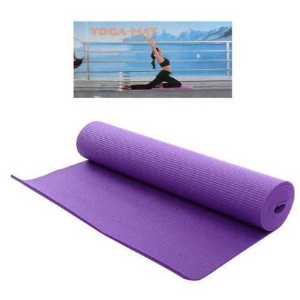 Фиолетовый коврик для фитнеса и йоги MS 1184-1 173-61-0,6 см, фото 2