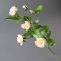 Розы белые с розовым искусственные на одной ветке 72 см