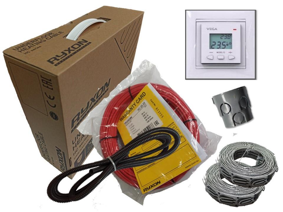 Тонкий двухжильный нагревательный кабель Ryxon HC-20 (3.5 м.кв ) 700 вт Серия  VEGA LTC 070 (Спец Предложение)