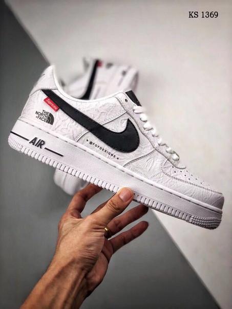 Чоловічі кросівки Nike Air force 1 x Supreme x The North Face (білі) 1369