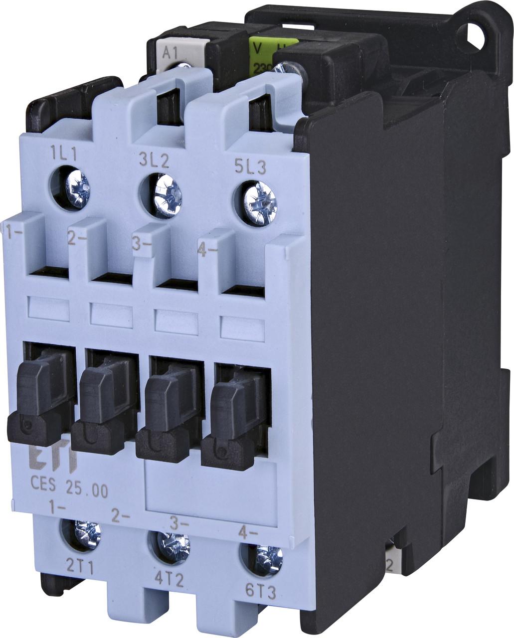 Контактор силовой ETI CES 25.00 25А 230V AC 3NO 11kW 4646543 (на DIN-рейку, 42A AC1, 25A AC3)