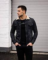 Мужской костюм черная джинсовка и свитшот
