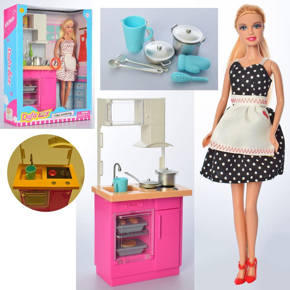 Кукла DEFA 8439-BF (18шт) 30см, кухня,мебель31-14,5см,посуда,свет,2цв, бат-таб,в кор, 25,5-32-9,5см