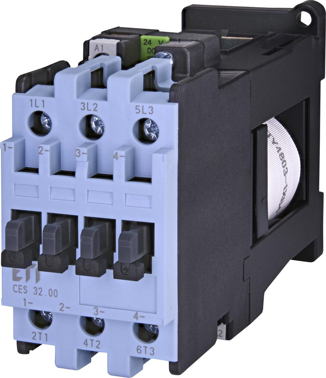 Контактор силовой ETI CES 32.00 32А 24V DC 3NO 15kW 4646551 (на DIN-рейку, 42A AC1, 32A AC3)