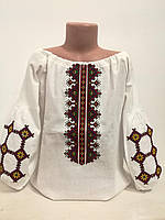 Детская белая блузка для девочки с разноцветной вышивкой Бабусины вытребеньки Piccolo L