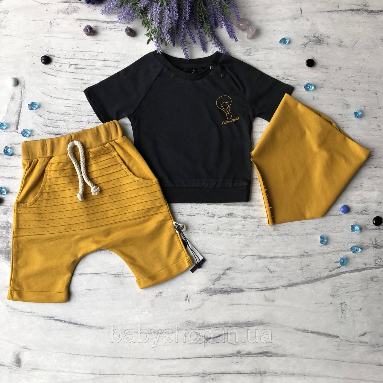 Желтый летний костюм на мальчика 13 Размер 74 см 86 см, 92 см, 98 см, 104 см