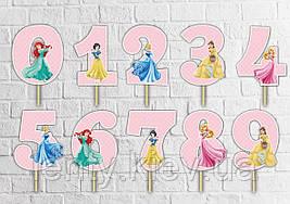 """Топпер-цифра (від 0 до 10см цифра) вирубка """"Принцеси Дісней"""" (1шт)-"""