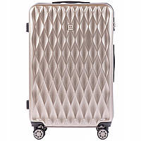 Дорожный чемодан пластиковый поликарбонат Wings PC190 большой 4 колеса бронза