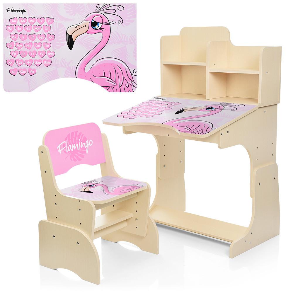 Детская парта растишка Bambi W 2071-74-1 Фламинго венге