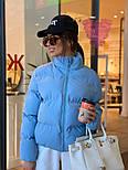 Женская короткая демисезонная куртка бомбер на молнии с воротником стойкой 7101258, фото 6