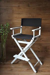 Складаний, професійний стілець для макіяжу білий, тканина чорна