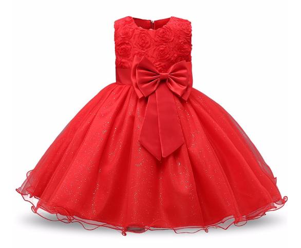 Нарядное бальное платье красное с розамиElegant ball gown red