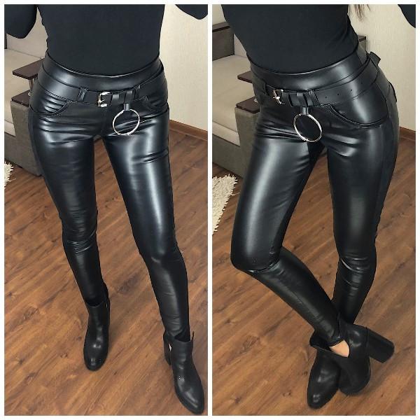 Женские кожаные лосины с контрастными лампасами и эффектом утяжки 5212435
