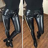 Женские кожаные лосины с контрастными лампасами и эффектом утяжки 5212435, фото 2