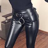 Женские кожаные лосины с контрастными лампасами и эффектом утяжки 5212435, фото 3