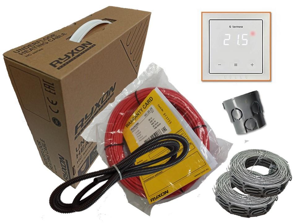 Двожильний нагрівальний кабель тонкий універсальний Ryxon HC-20 обігрів (6 м. кв ) 1200 вт серія Terneo S