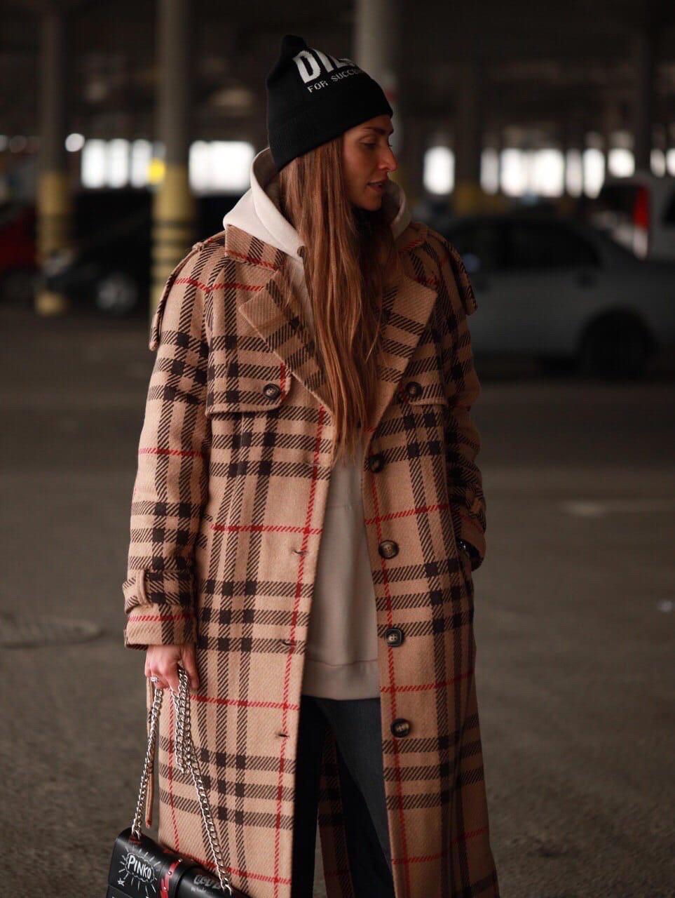 """Пальто женское зимнее """"Клетка"""""""