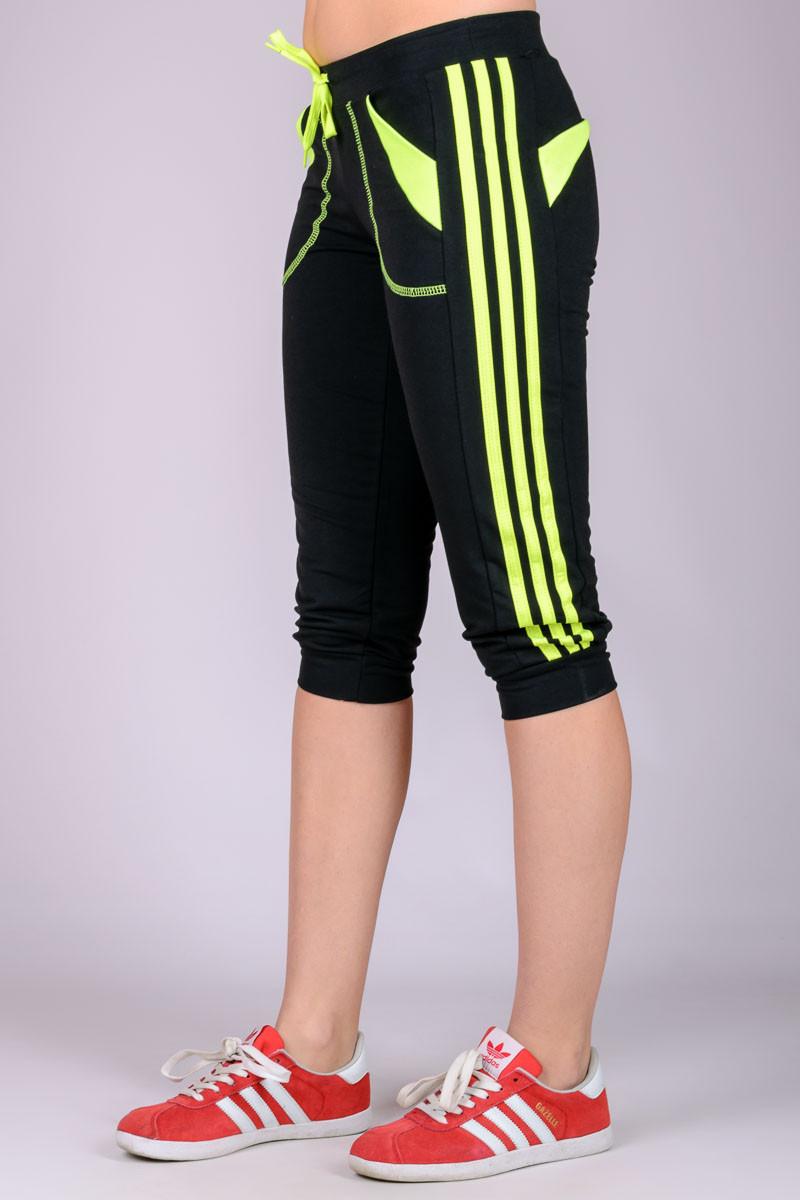 Капри спортивные женские Стрелки (черные+лимон)