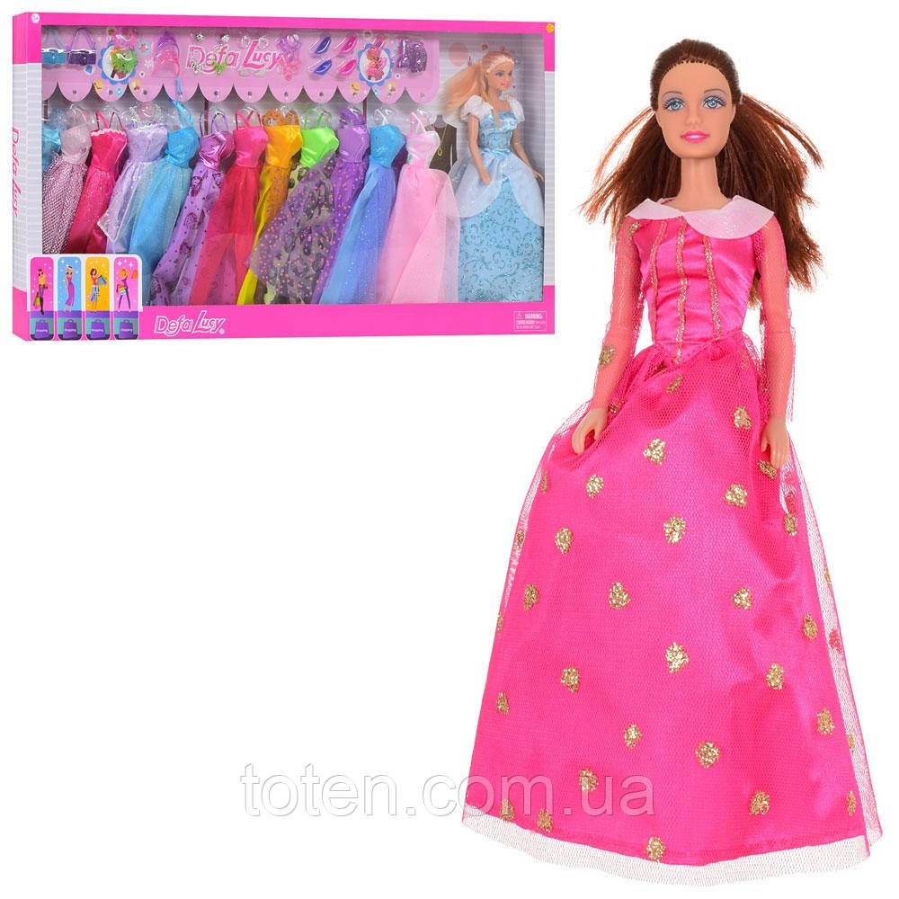 Кукла с нарядом DEFA 29 см, платье 12 шт, сумка, обувь, аксесс, 2  вида 8362-BF