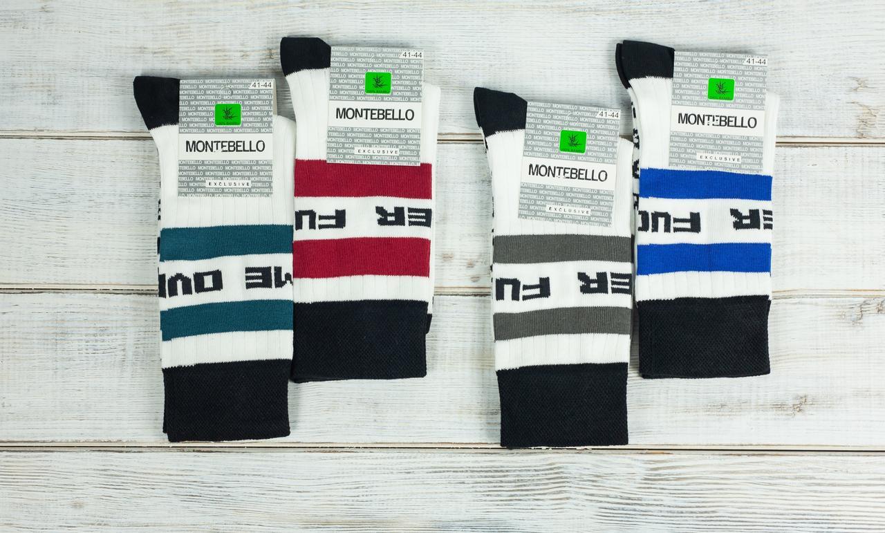 Шкарпетки чоловічі теніс носки Montebello з смужками і надписам 41-44 12 шт в уп