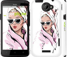 "Чехол на HTC One X Девушка в очках 2 ""4714c-42-535"""