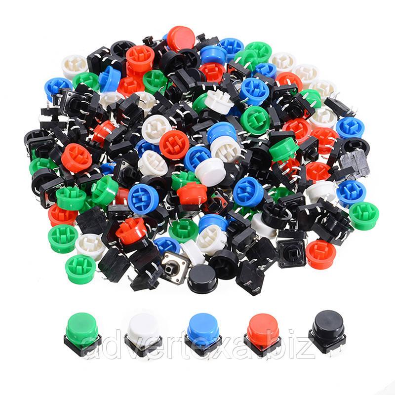 Тактильные кнопочные переключатели 100 штук 12х12х12 мм
