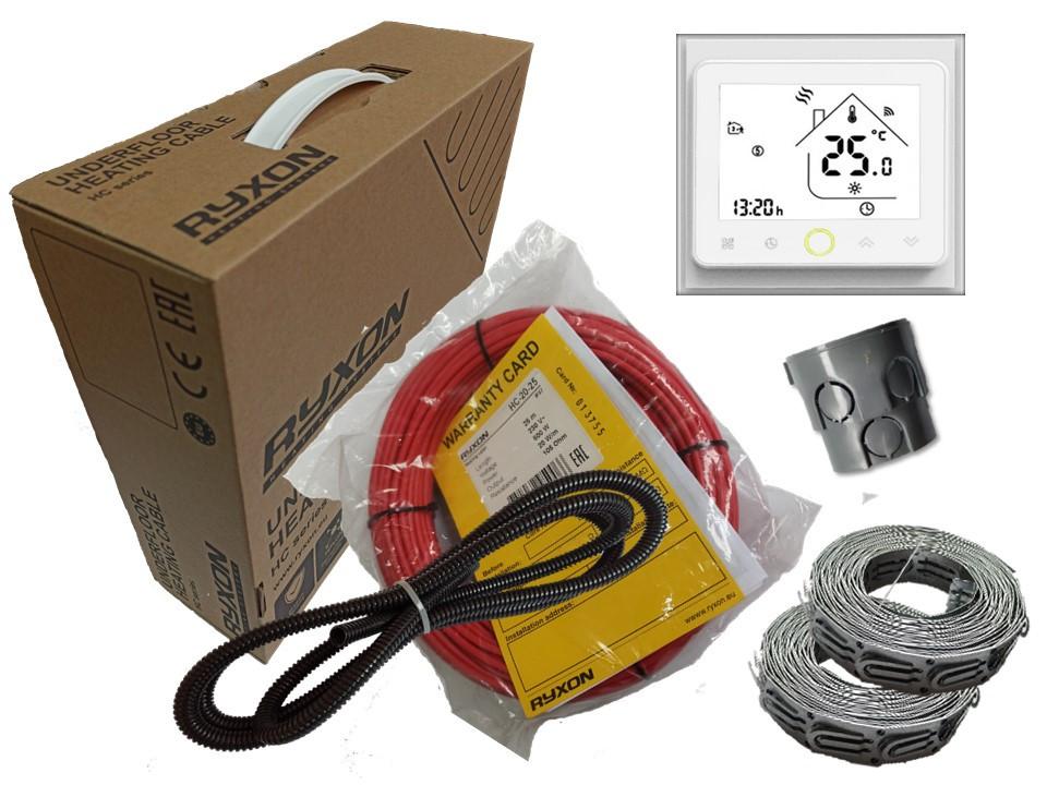 Двухжильный кабель Ryxon HC-20 обогрев (6 м2) в комплекте   с  WI-FI thermostat TWE02 (KIT4211)