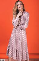 Платье женское с длинным рукавом в горошек