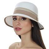 Женская летняя шляпа цвет белый с серой  отделкой, фото 2