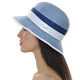 Женская летняя шляпа цвет белый с серой  отделкой, фото 4