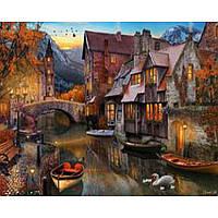 """Картина по номерам на дереве 40*50 """"Старинный городок"""" RSB8105 в подарочной коробке"""