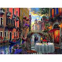 """Картина по номерам на дереве 40*50 """"Кафе на улице"""" RSB8146 в подарочной коробке"""