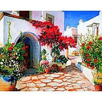 """Картина по номерам на дереве  40*50 """"Цветочный дворик""""  RSB8399 в подарочной коробке"""