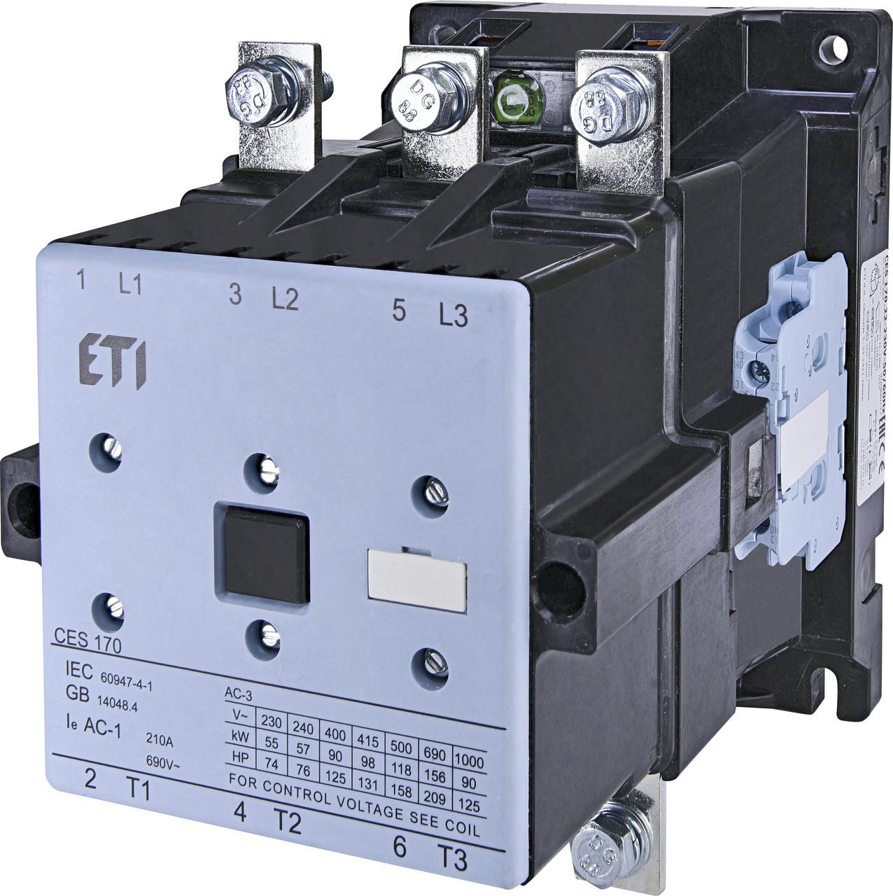 Контактор силовой ETI CES 170.22 170А 230V AC 3NO+2NO+2NC 90kW 4646569 (на DIN-рейку, 210A AC1, 170A AC3)