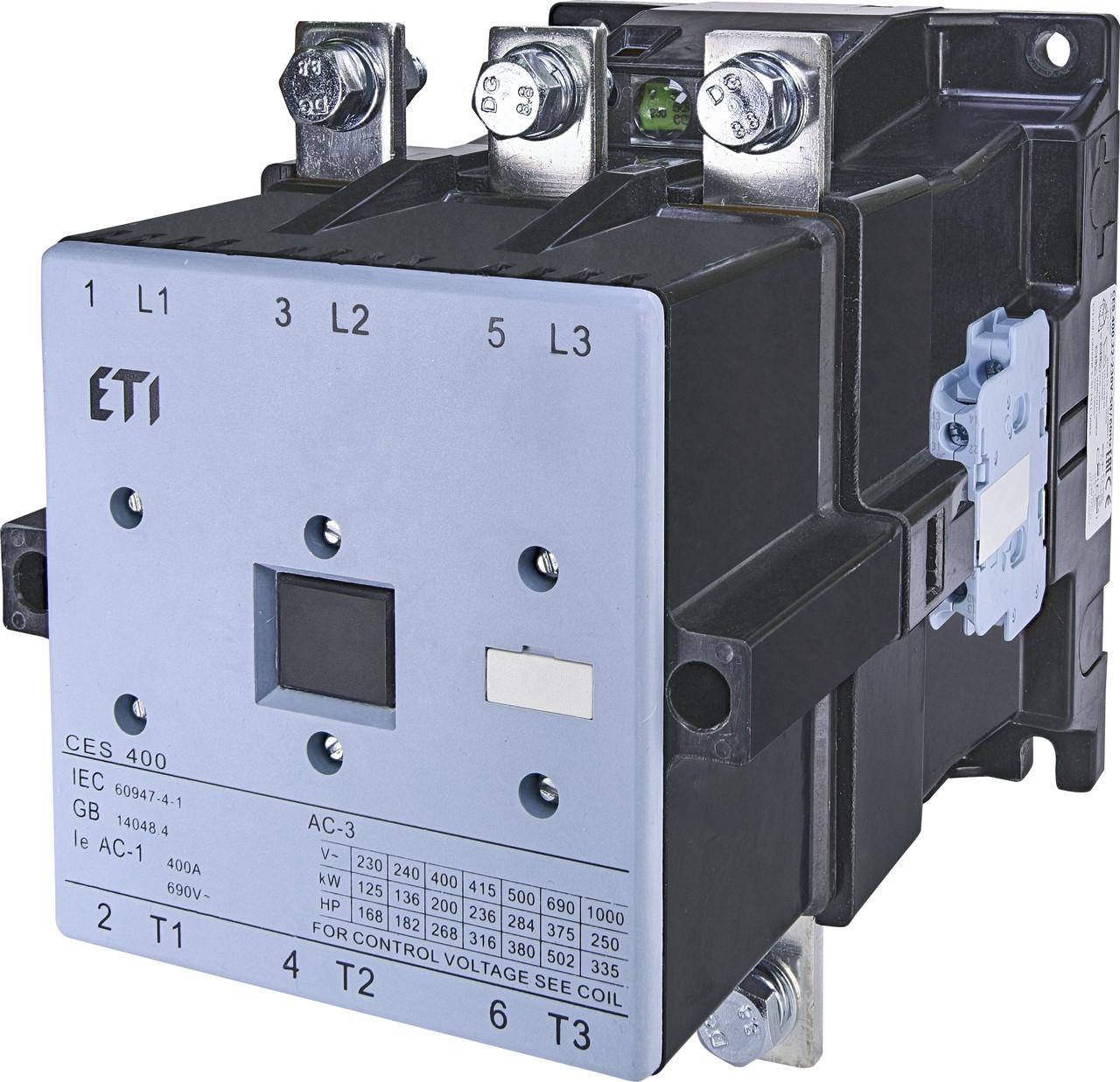 Контактор силовой ETI CES 400.22 400А 230V AC 3NO+2NO+2NC 200kW 4646573 (на DIN-рейку, 500A AC1, 400A AC3)