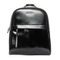 Рюкзак - сумка из плотной черной кожи мужской (32*28*12см) ALEX RAI, 1-06 8694-2 black
