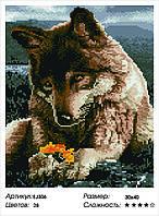 Алмазная мозаика Волк с цветком